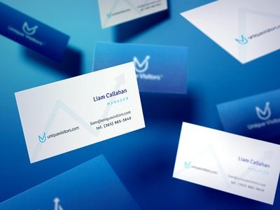 Business Cards for UniqueVisitors mockup graphic design design visitors unique stationary business card