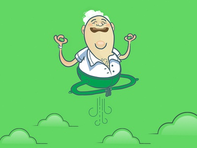 Zen Brian :) avatar icon smiling happy lotus zen illustration