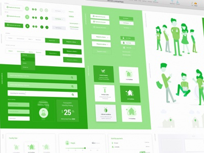 Holly Green & Mint UI Components green sketch app elements components ui design