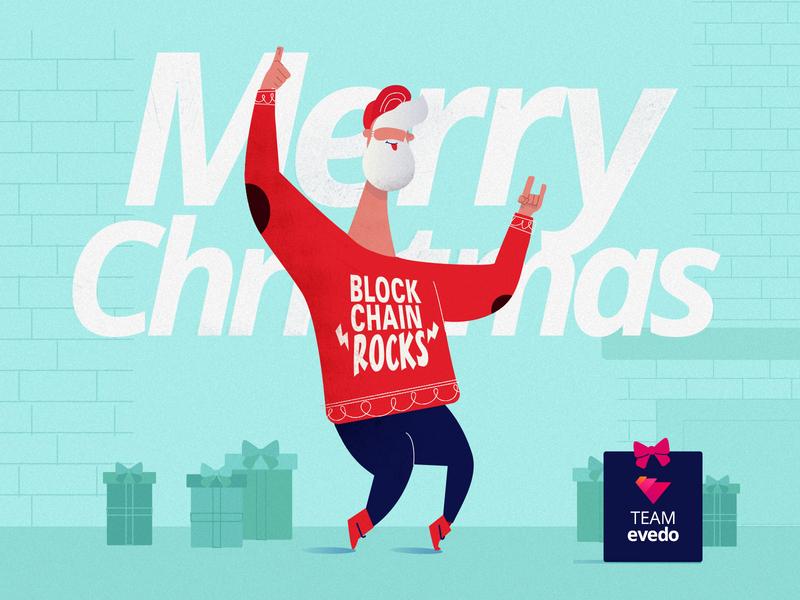 Merry Christmas & Blockchain Rocks merry christmas evedo holidays crypto blockchain santa clause christmas