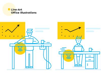 Outline Office Illustrations for Open Sensors web line art outline vector redesign illustration design website