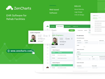 ZenCharts EHR - UI / UX Case Study ui design desktop app uiuxdesign uidesign ux app rehab addiction ehr icon website design uiux ui