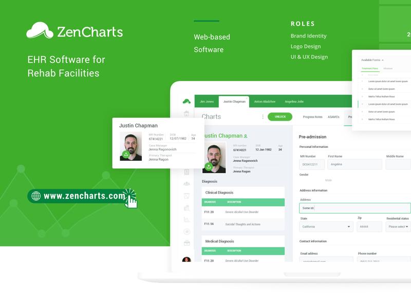 ZenCharts EHR - UI / UX Case Study ui design desktop app uiuxdesign uidesign ux app rehab addiction ehr icon website design uiux ui
