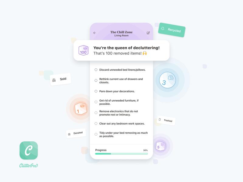 Clutterfree - Tasks & Achievements notification icon badge minimalist todo list todo app progressbar achievement task task list design ios app ui