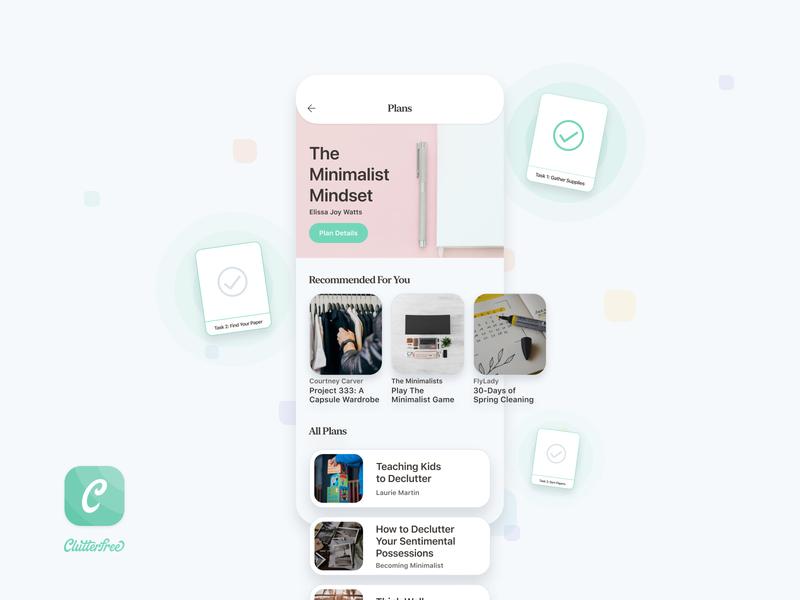 Clutterfree - Plans clean household house home minimalist minimalism achievements tasks reading plans design ios app ui