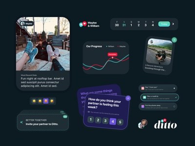 Ditto App love couples relationships ui design mobile ui dark ui dark theme dark app design ui app