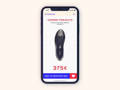 Mobile eCommerce UI cart shop app ecommerce collection ios design figma dailyui blue brutal