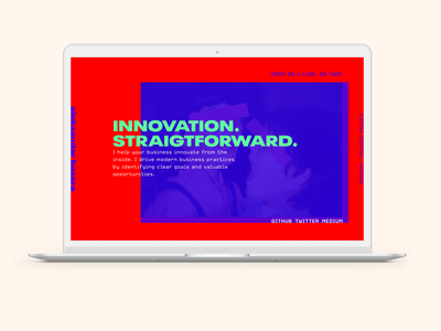 Too much for a personal website? color beige green red blue brutalist brutalism personal brand personal blog web design colour dailyui brutal