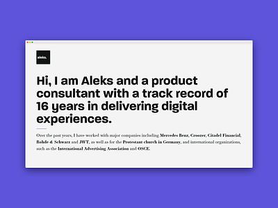 Personal Page - aleksbasara.co carrd no code landing page microsite personal branding personal brand dailyui figma logo