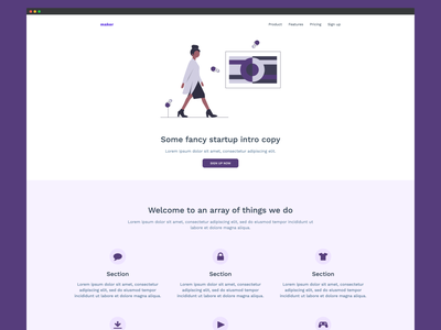 Startup Landing Page Template 01 for carrd.co carrd startup website web design landing design colour illustration dailyui landing page