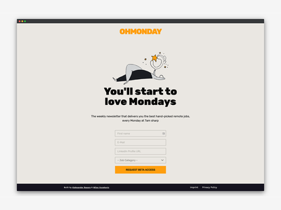 OHMONDAY Beta landing page colour nocode carrd landing page branding vector typography illustration design dailyui