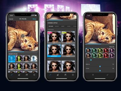 Video Edit App dark clean modern photoshop iphone x ios app