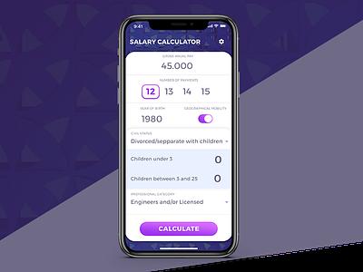Salary Calculator App cards iphonex ios salary app calculator