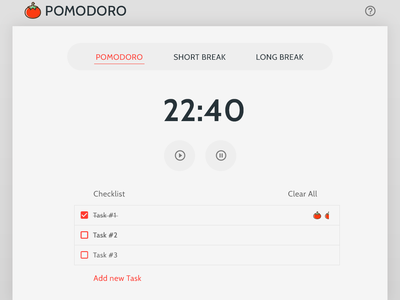 Pomodoro Technique Timer responsive mobile ui dev design ui
