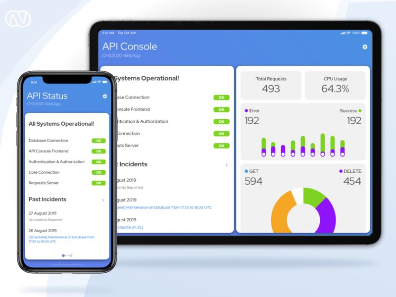 API Console Status App figma sketchapp modern responsive mobile statistics graph status console api