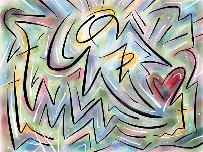 Illustration: Angel Heart finger sketch paper app ipad illustration design