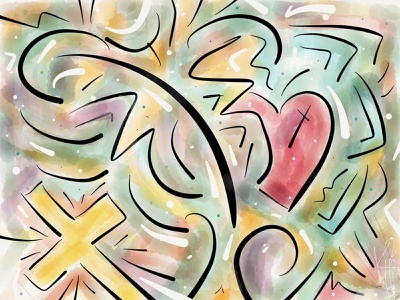 Illustration: Sacred Heart paper app finger sketch ipad sketch illustration design