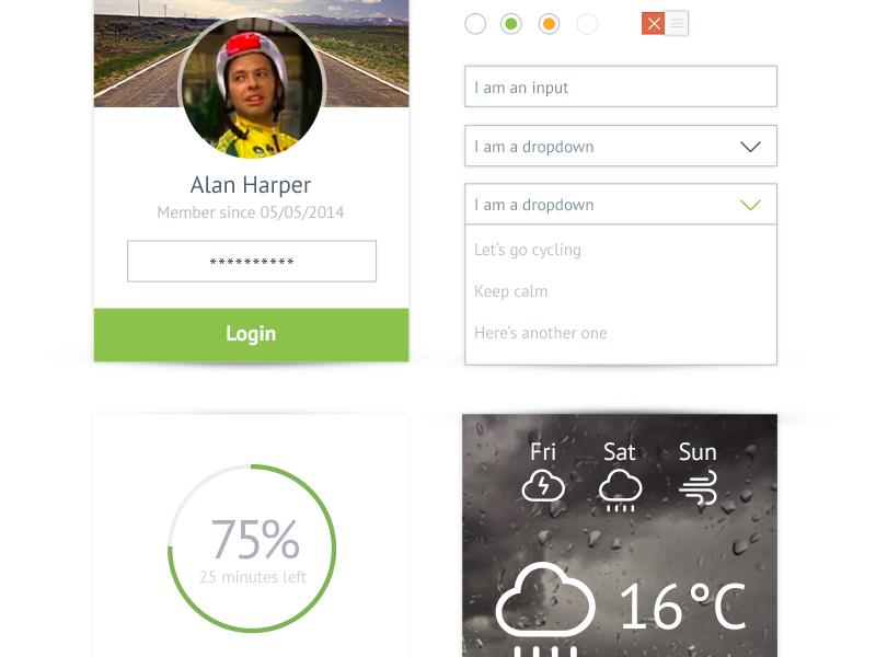 Cyclopia UI Kit ui kit ui design loader login form weather slider freebie