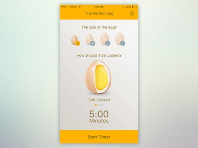 Timer UI - Day 14 timing modern cool flat ui cooking egg countdown timer 014 dailyui