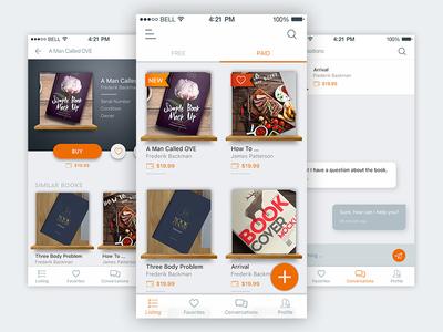 Book Store App UI sleek modern clean listing list shelf ios app store book