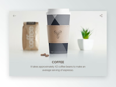 Coffe Info Card minimal sleek simple shadow stats statistic random rebound coffee info dailyui