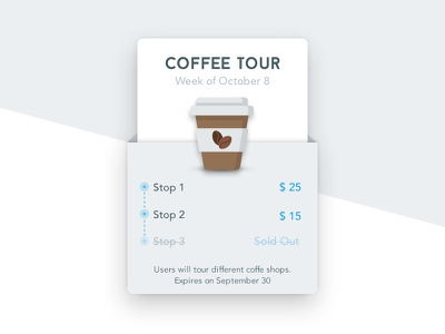 Coffee Tour Product Card simple shadows shadow info tour coffee flat modern design ui card product