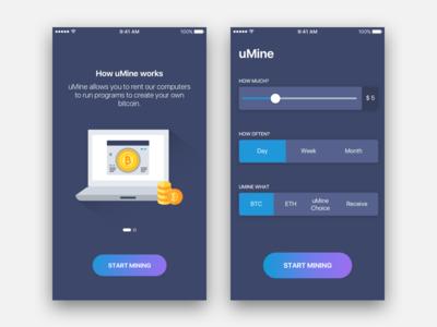 Bitcoin Mining App UI slider onboarding flat simple ios ui app