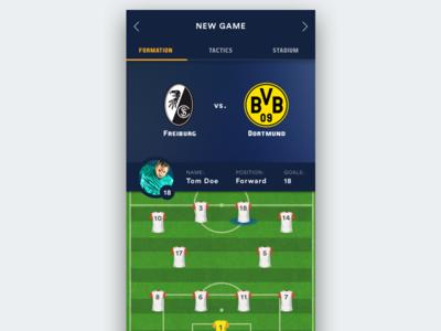 Soccer Manager App Ui inspiration design dark soccer game modern flat ios ui app