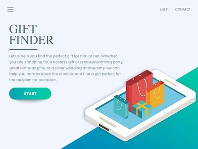Giftfinder App UI bright cool simple gradient modern widget app