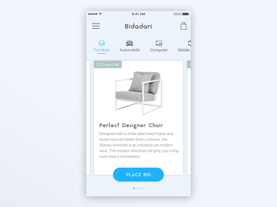 Bidding App UI Design card shop sleek flat categories bid bright cool simple gradient modern app