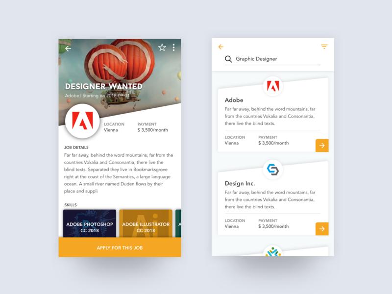 Job App UI Design dailyui ui design clean sleek minimal ui flat modern app