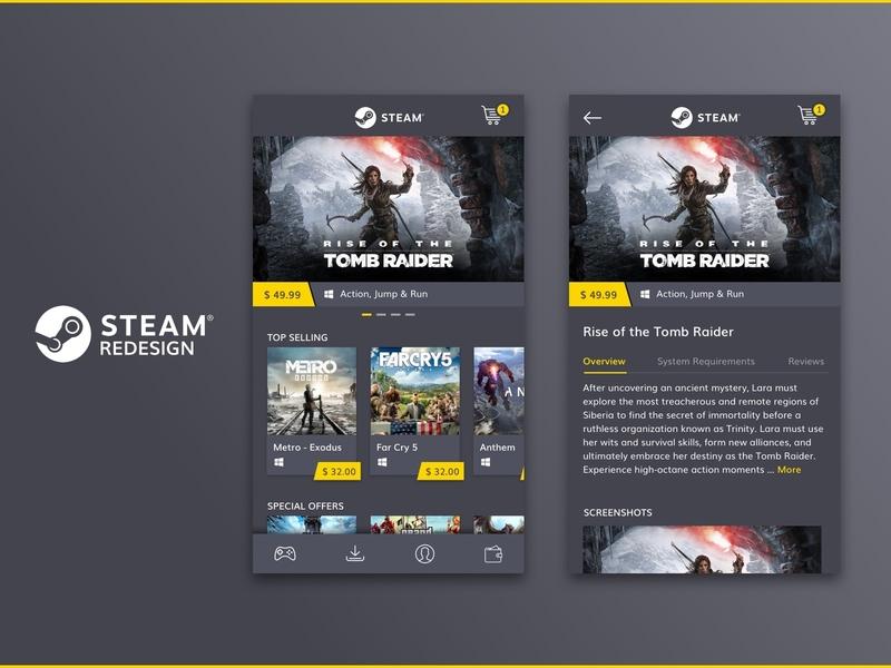 Steam Redesign rebound redesign flat ecommerce store clean sleek modern app
