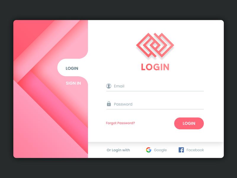 Login UI login form web register interface ux ui sign in minimal gradient design colors clock