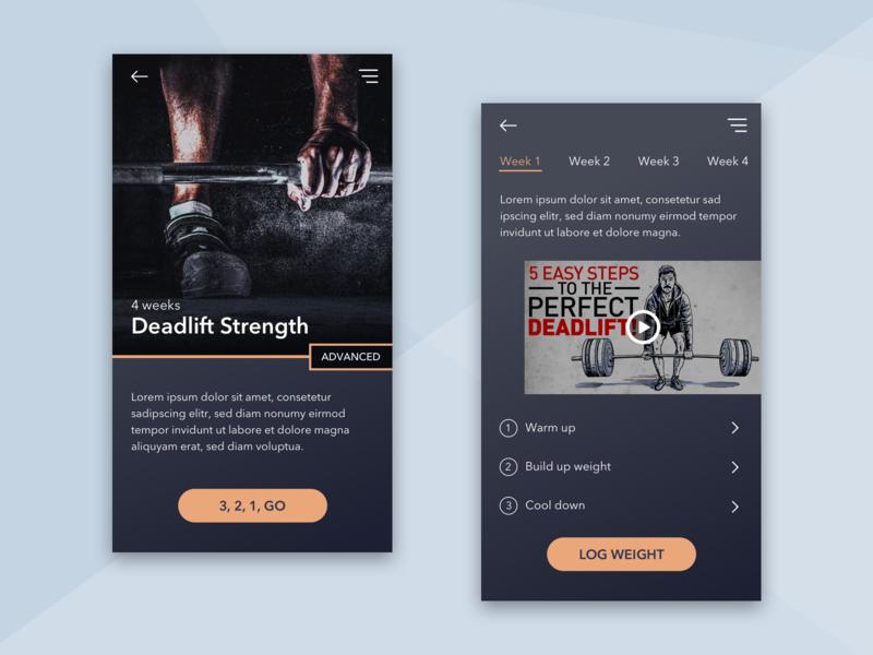 Fitness App UI dark fitness dailyui flat ui modern app