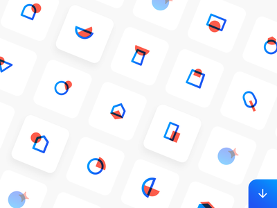 Sans Icon Set - Extended logo blue iconography branding illustration icons abstract