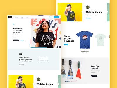 Printshop Home Page simple interactive clean playful bright tshirt carousel ux ui print landing home