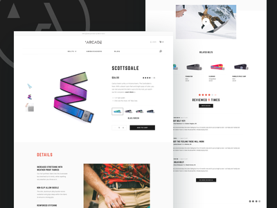 Arcade Product Page ecommerce shopping simple belts ux ui web design website reviews pdp product