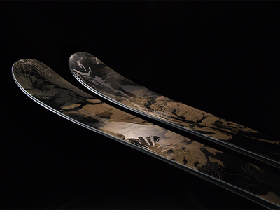 Rossignol Black Ops 98mm Skis sports winter outdoor abstract snowboard gold texture black depth skis product design product