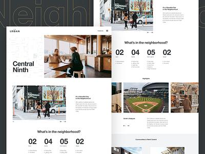 Neighborhood Highlights web design ux ui swiss real estate modern international helvetica courier layout clean architecture