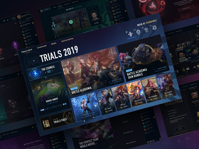 League of Legends Mid-Season Trials moba game league of legends client esports dark designs dashboard interface video game ux ui