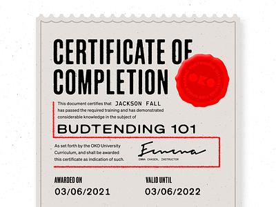 Certificate mockup badge seal diploma certificate budtender cannabis