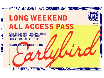 Earlybird colorful typography web illustration design print logo barcode ticket branding