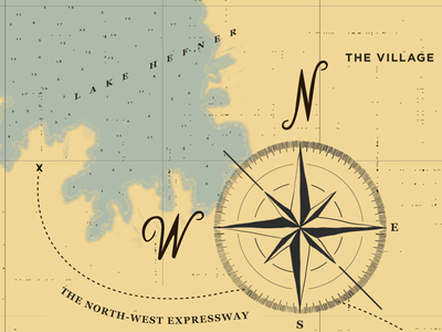 X Marks the Spot scale directional datavis oklahoma cartography vector typography illustration compass map