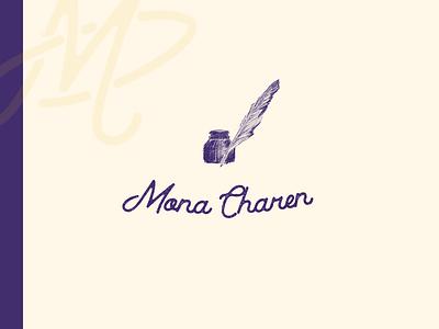 Mona Charen cursive inkwell sketch quill logotype script author illustration logo brand