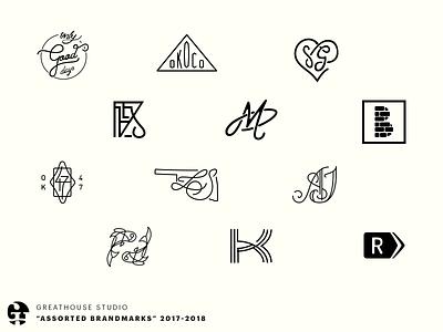 """""""assorted brandmarks"""" 2017-2018 pisces b r k m icon mark wordmark logomark logos branding brand"""