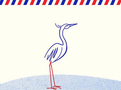 And To My Hero, Heron... vintage postage stripes halftone bird mark icon illustration heron logomark branding brand