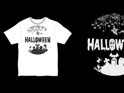 T-Shirt with Halloween illustration graphic design branding halloween party t-shirt template halloween kids t-shirt mock-up halloween design halloween t-shirt halloween t-shirt mock-up t-shirt with halloween