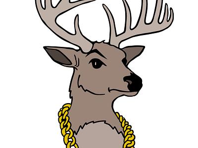 BUX logo logo bux bust mount antlers gold chain illustrator illustration deer ux