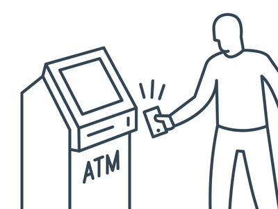 ATM Illustration transaction signal iphone man mobile illustration atm