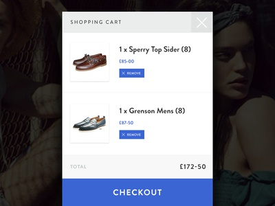 Mobile shopping cart interface ecommerce